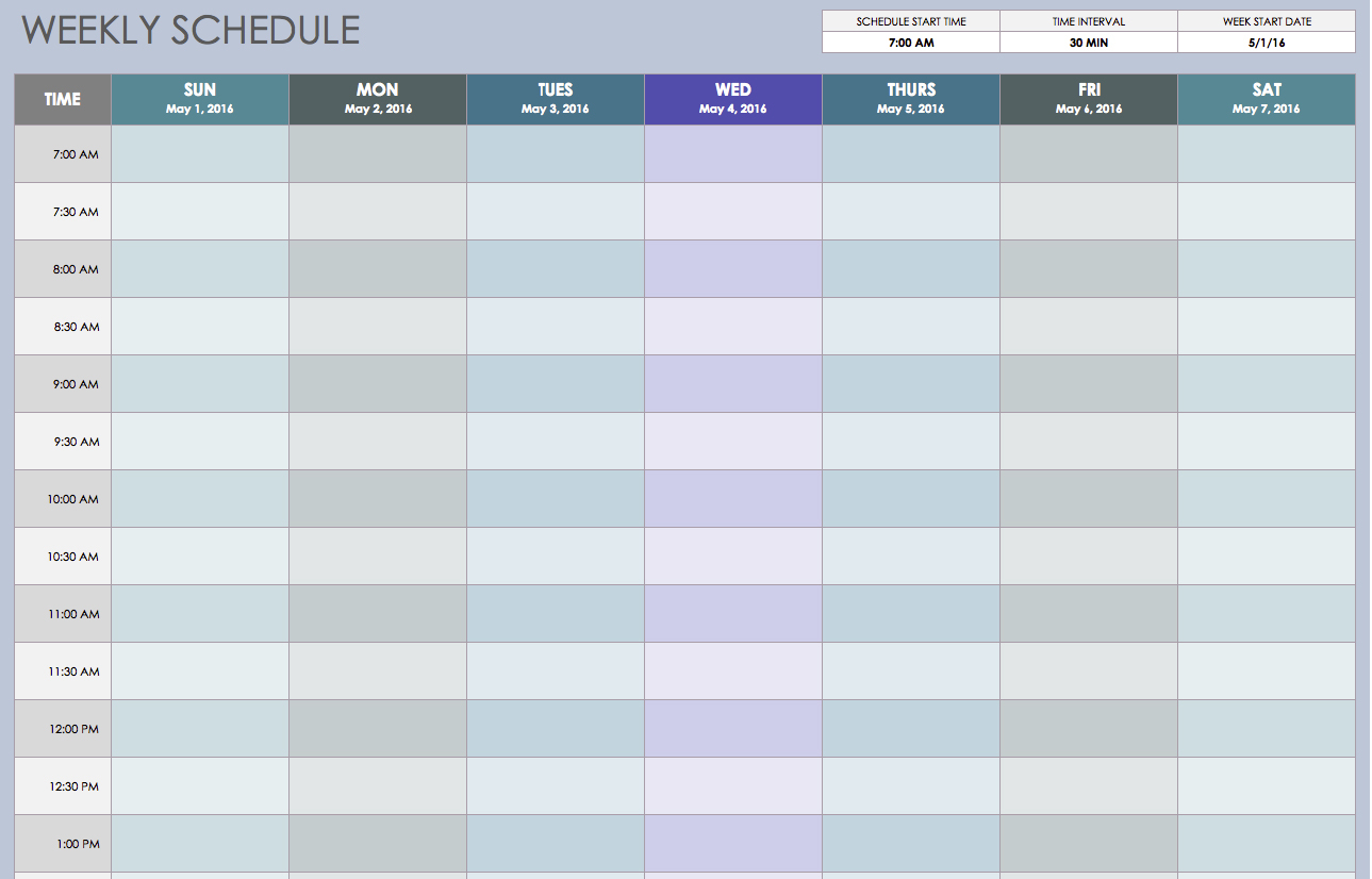 Free Weekly Schedule Templates For Excel - Smartsheet