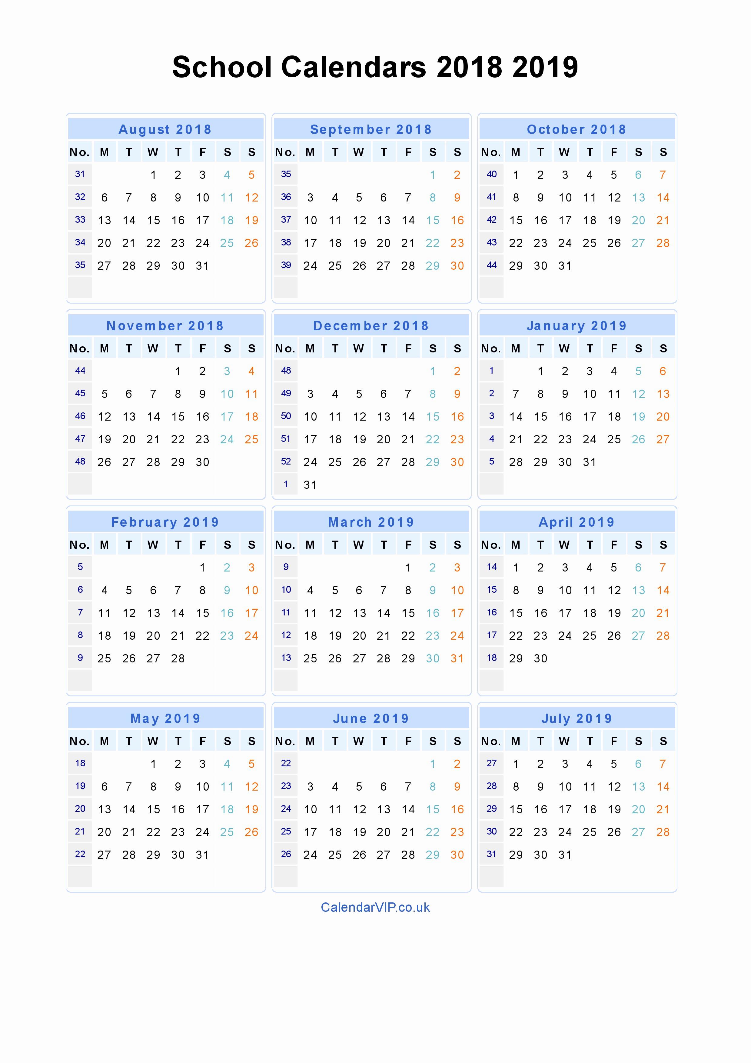 Fresh 24 Sample Printable Calendar With Week Numbers 2019