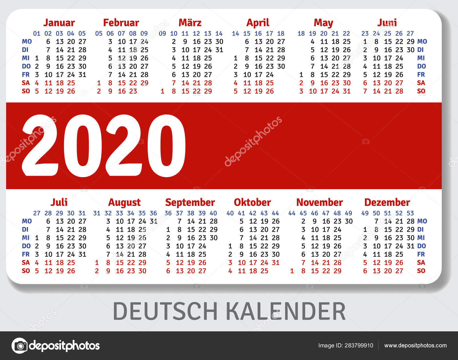 German Pocket Calendar 2020 Standard Size Iso 7810