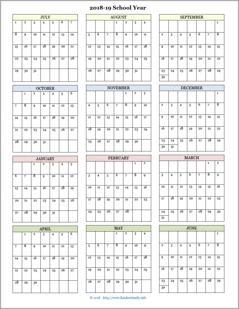 Get 2019 2019 Blank School Calendar Year At A Glance ⋆ The