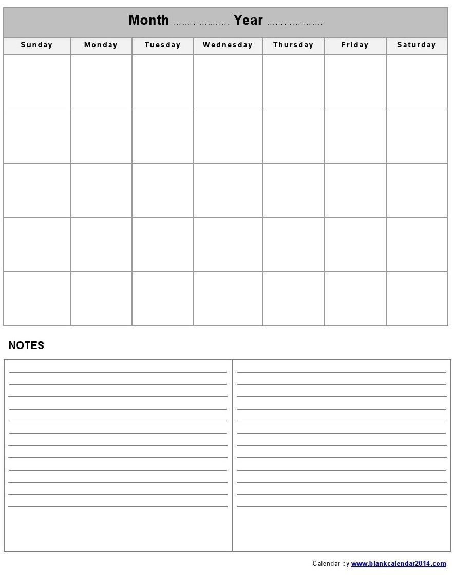 Get Blank Calendar Template With Notes ⋆ The Best Printable