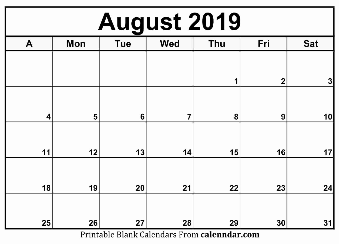 Get Calendar August 2019 Print Out ⋆ The Best Printable