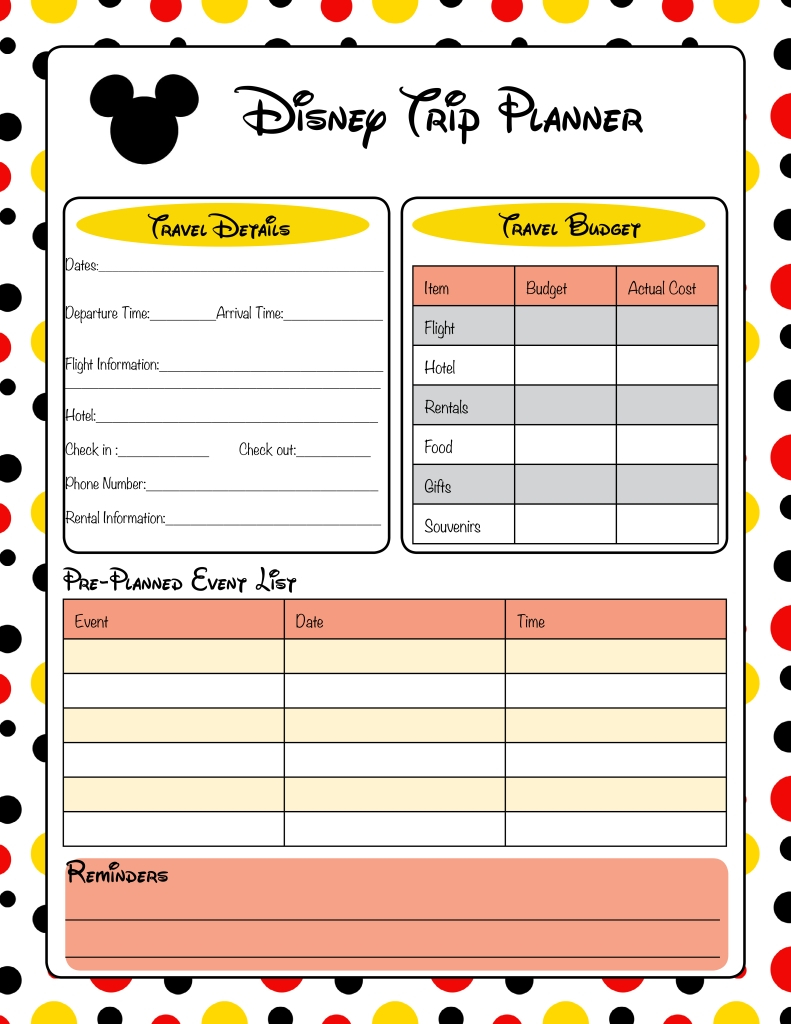 Get Disney World Itinerary Template Blank ⋆ The Best