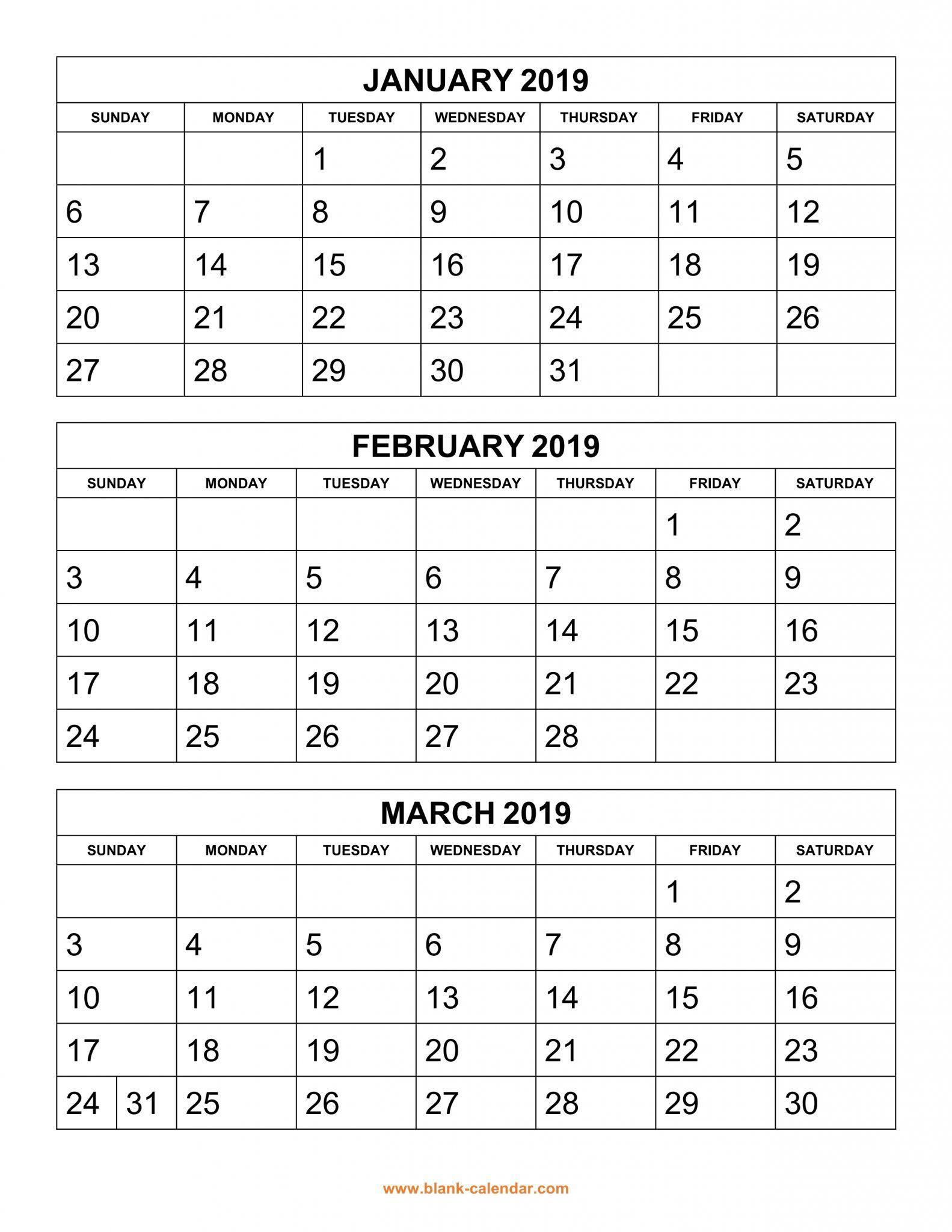 Get Free 2019 3 Month Calendar Templates Printable Download