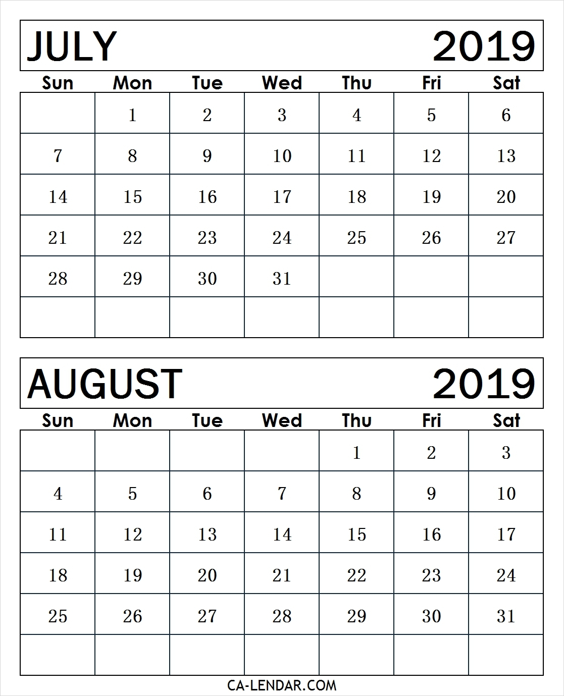 Get July And August 2019 Printable Calendar ⋆ The Best