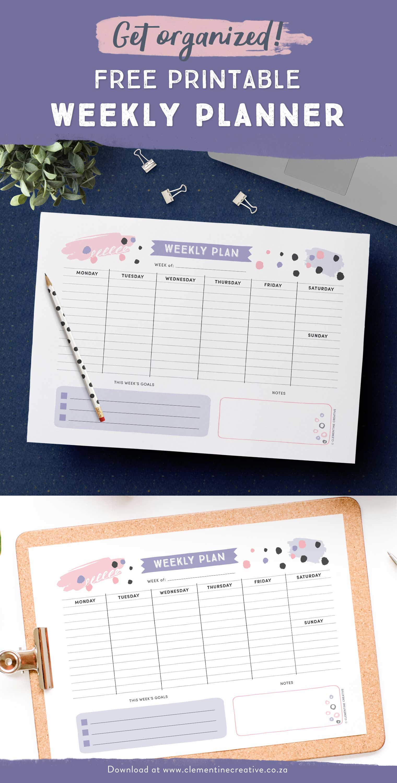 Get Organised With This Free Printable Weekly Planner - Cute