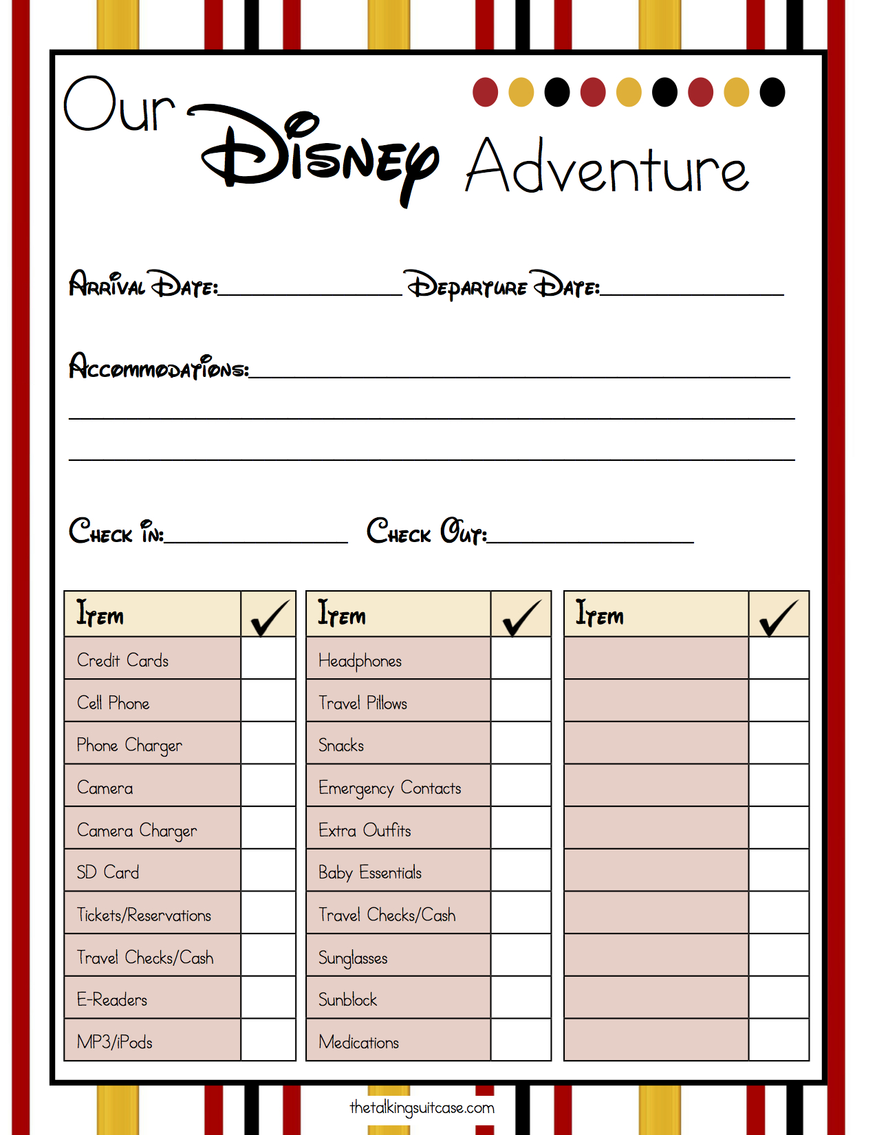 Get Ready For Your Disney Vacation - Free Printable Disney