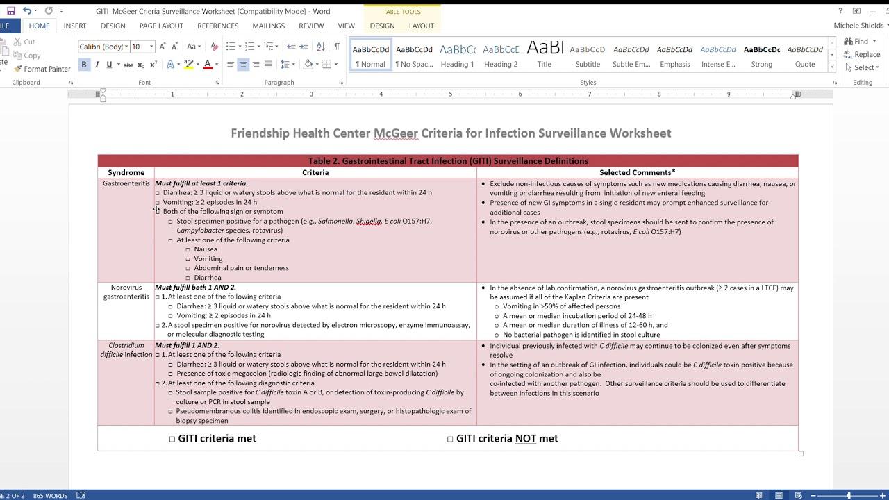 Giti Mcgeer Criteria Surveillance Worksheet