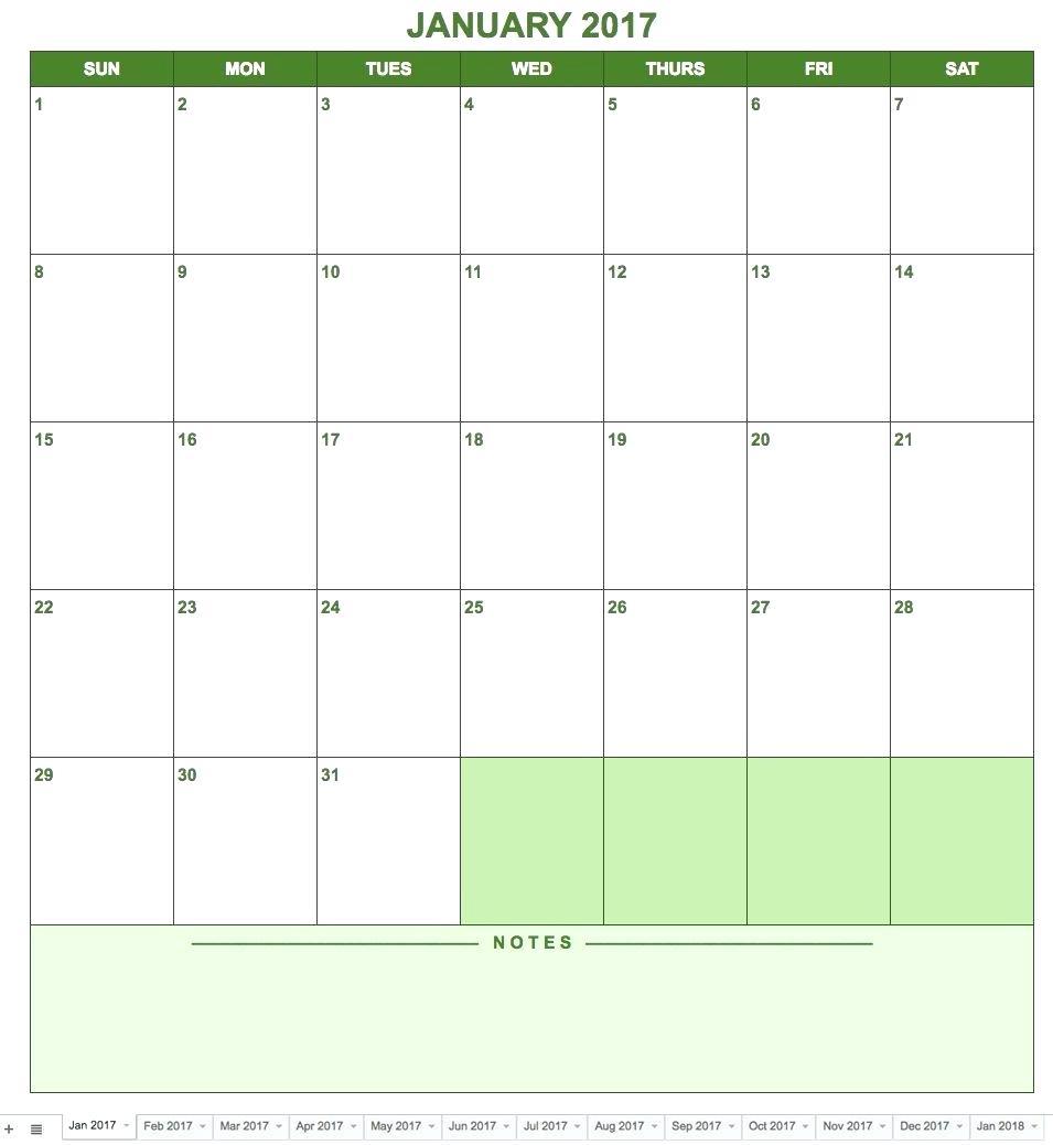 Google Docs Calendar Template 2018 – Proteussheet.co