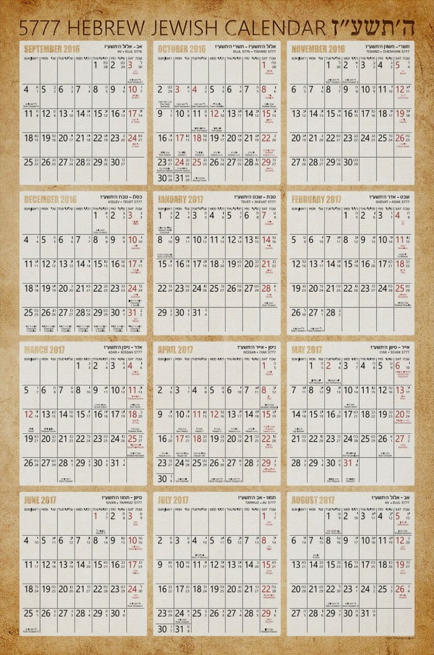 Hebrew Jewish Wall Calendar Poster - Old Paper Background