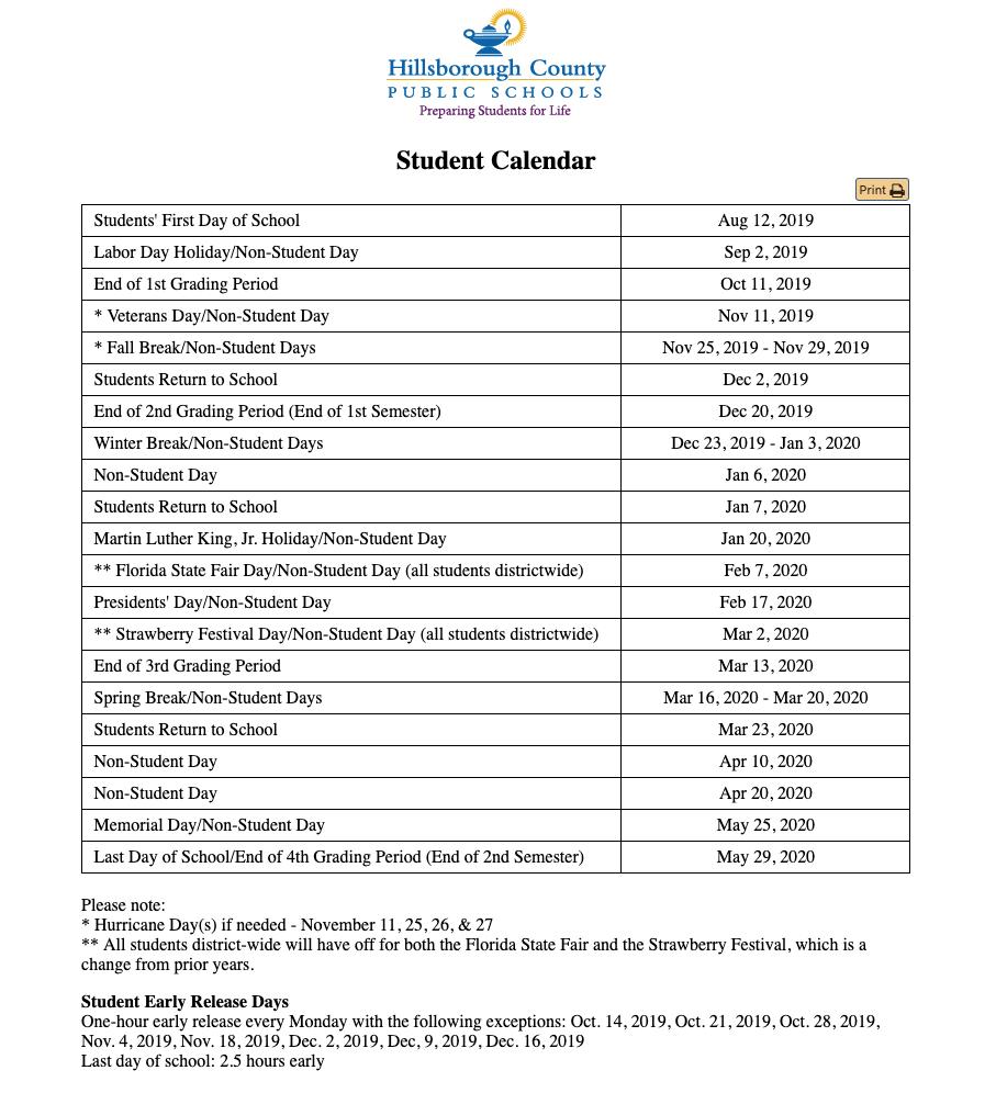 Hillsborough County School Calendar 2020