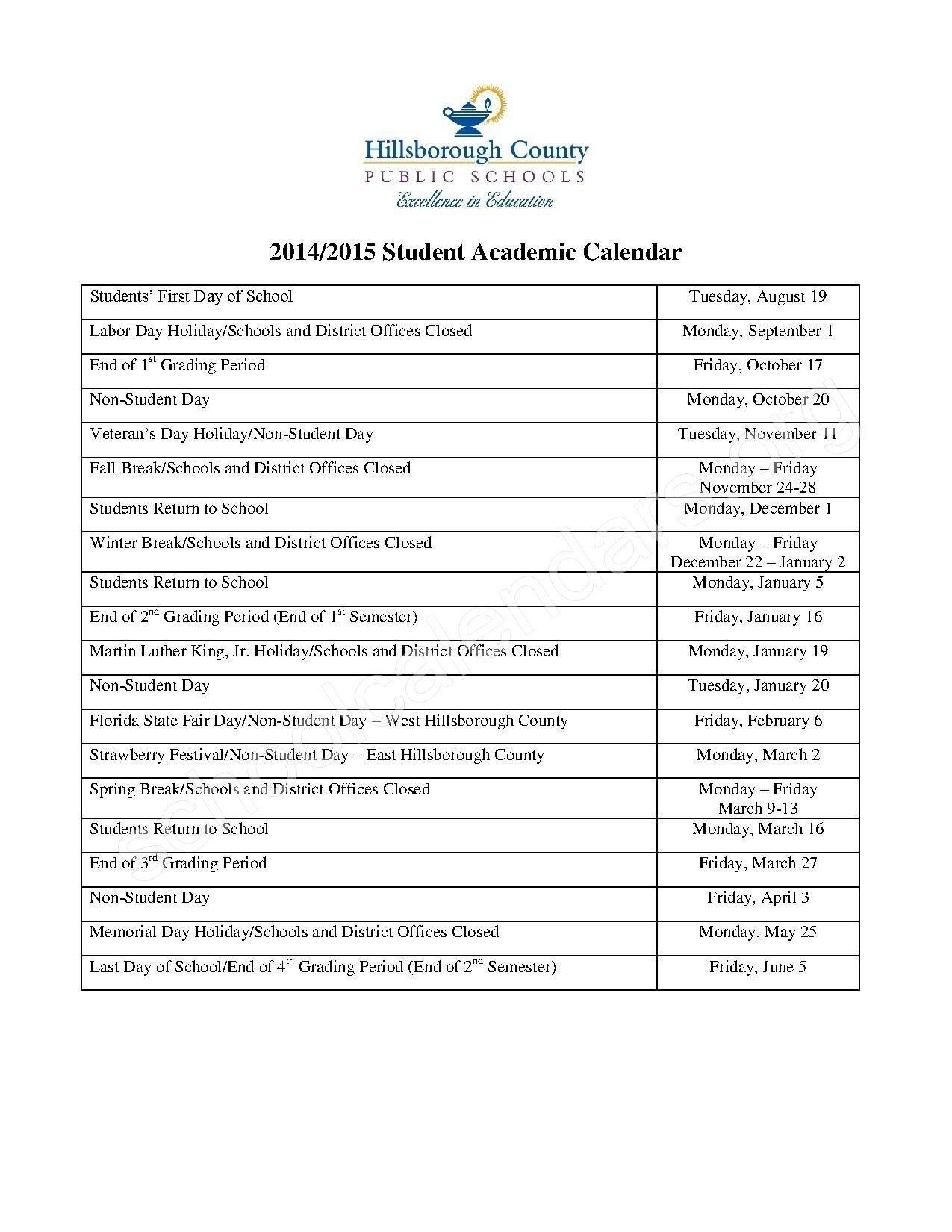 Hillsborough County School Calendar | Isacl