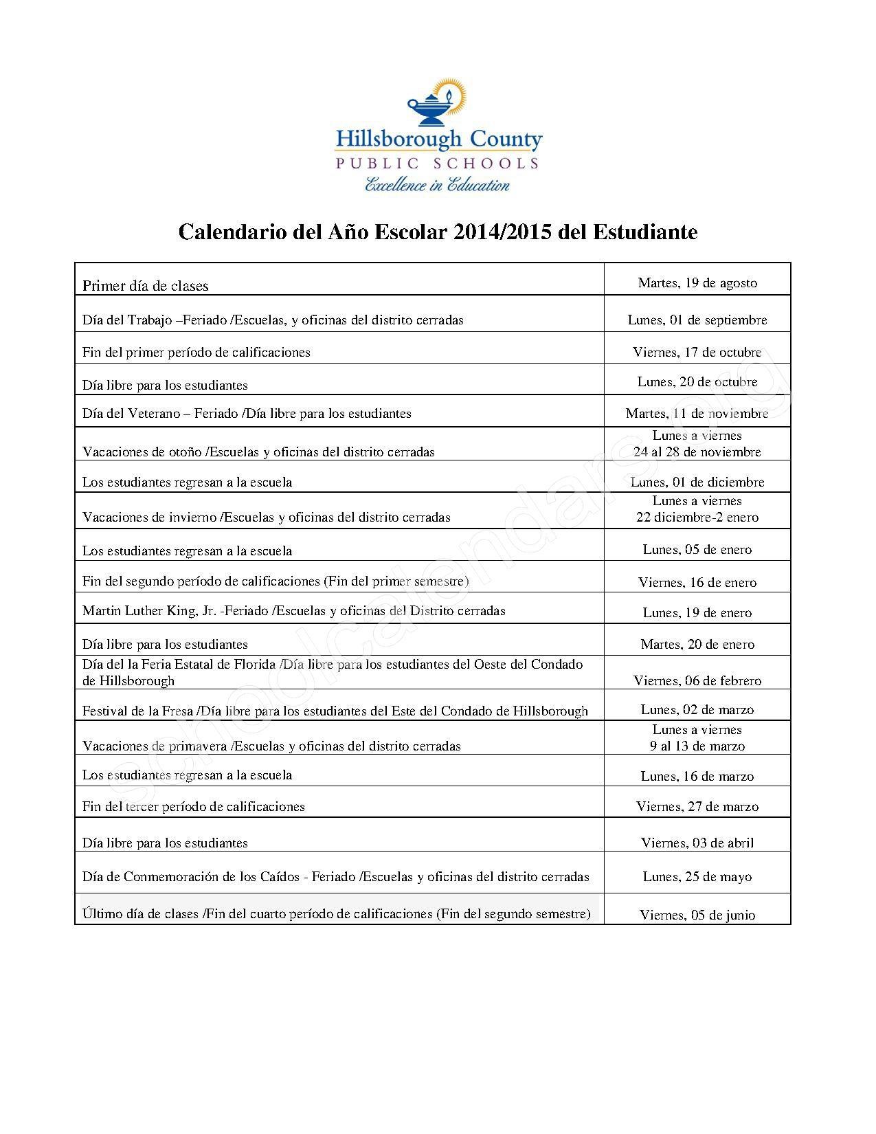 Hillsborough County Schools Calendar 2018 Print For Totally