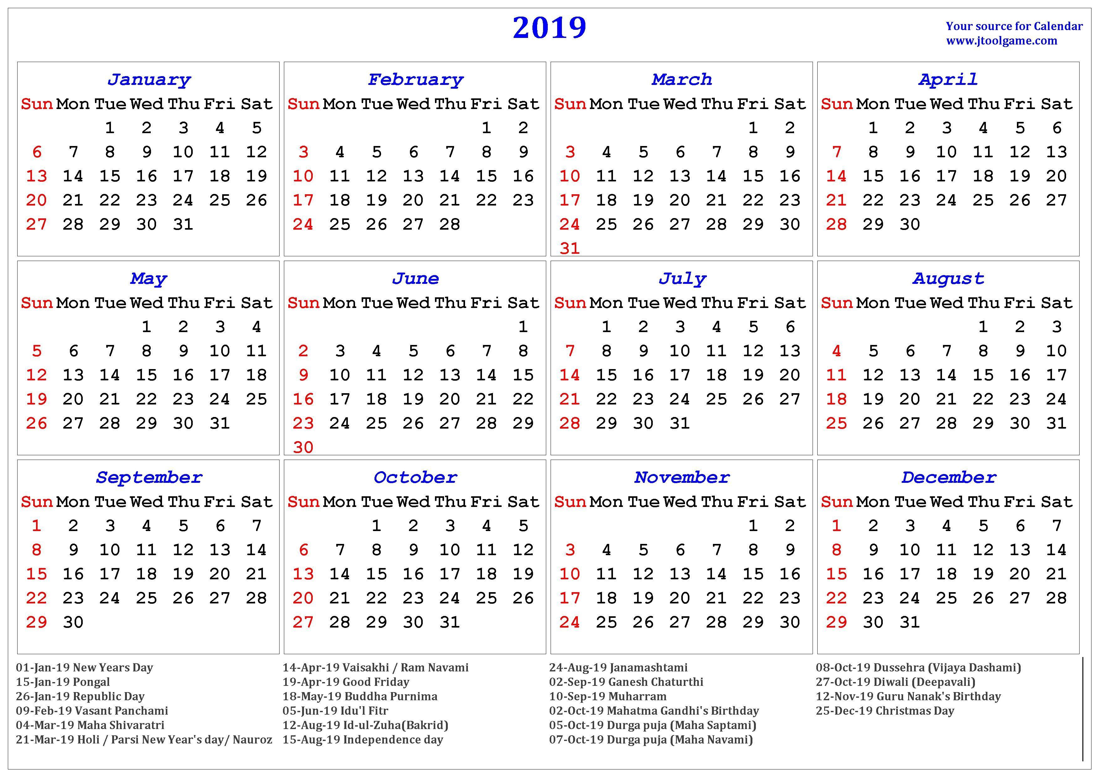 Holidays Calendar 2019 #2019Calendar #2019Holidays #usa #uk
