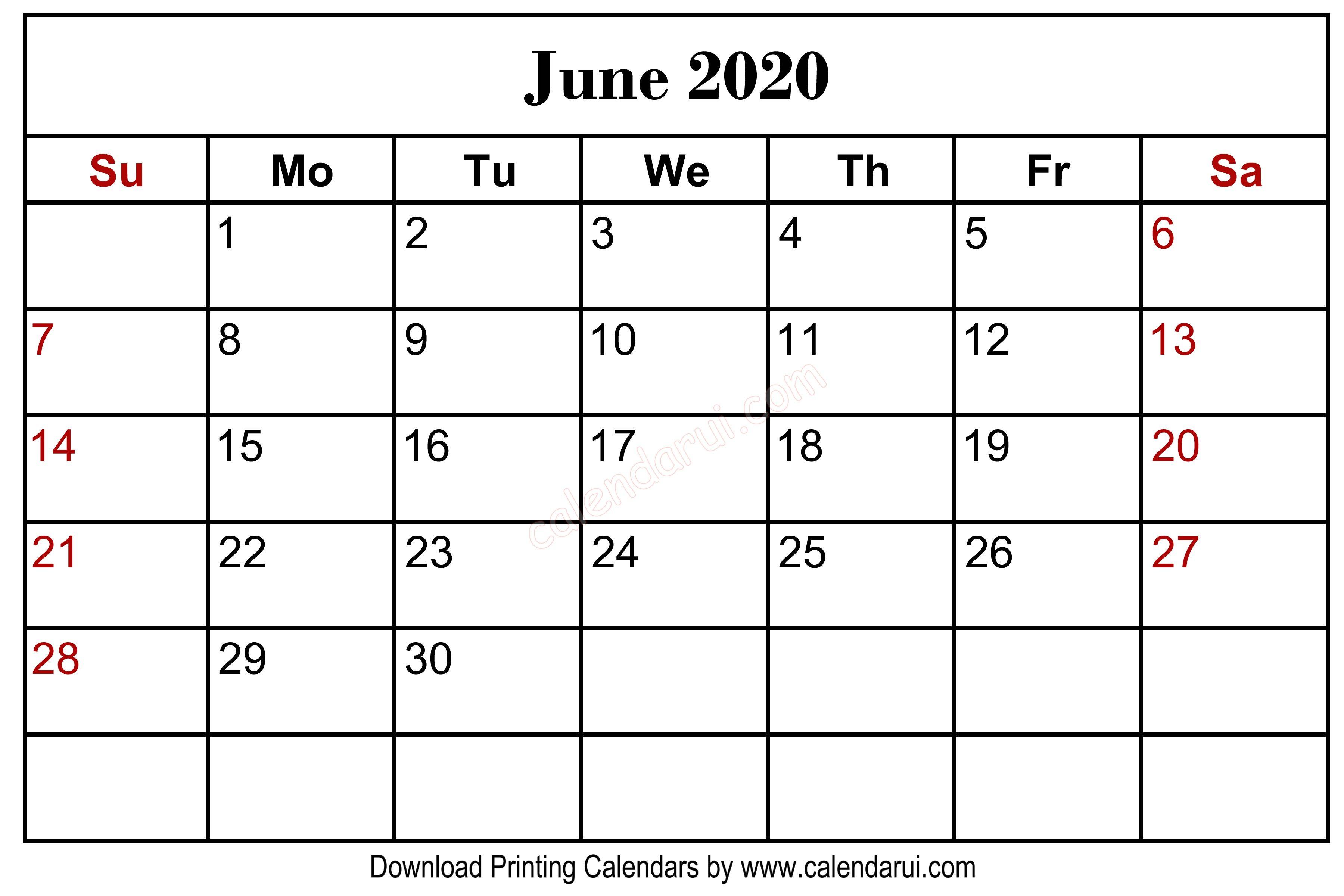 Homepage / 2020 Calendar / June 2020 Blank Calendar