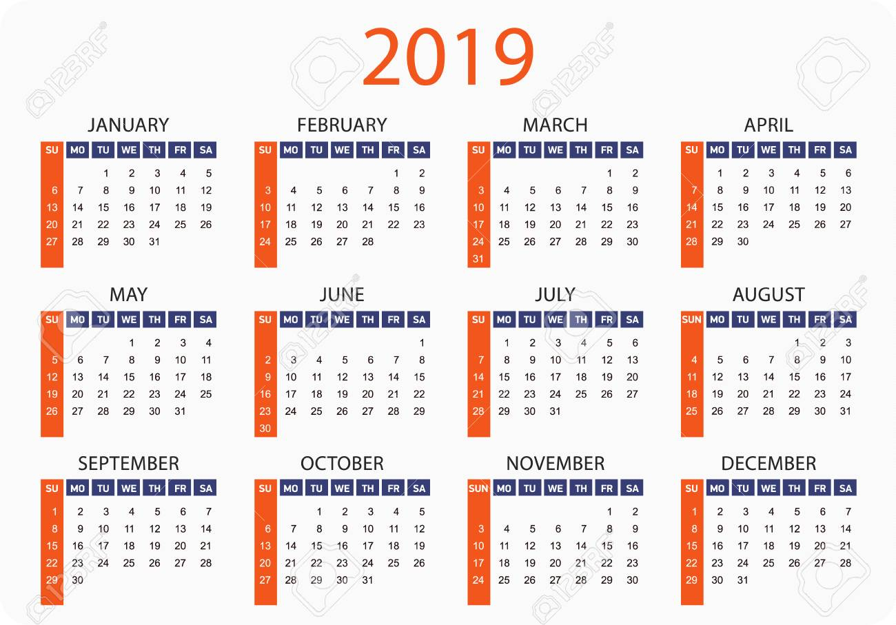 Horizontal Pocket Calendar On 2019 Year. Simple Vector Template..