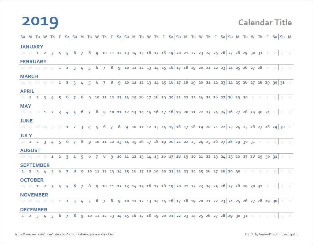 Horizontal Yearly Calendar Templates