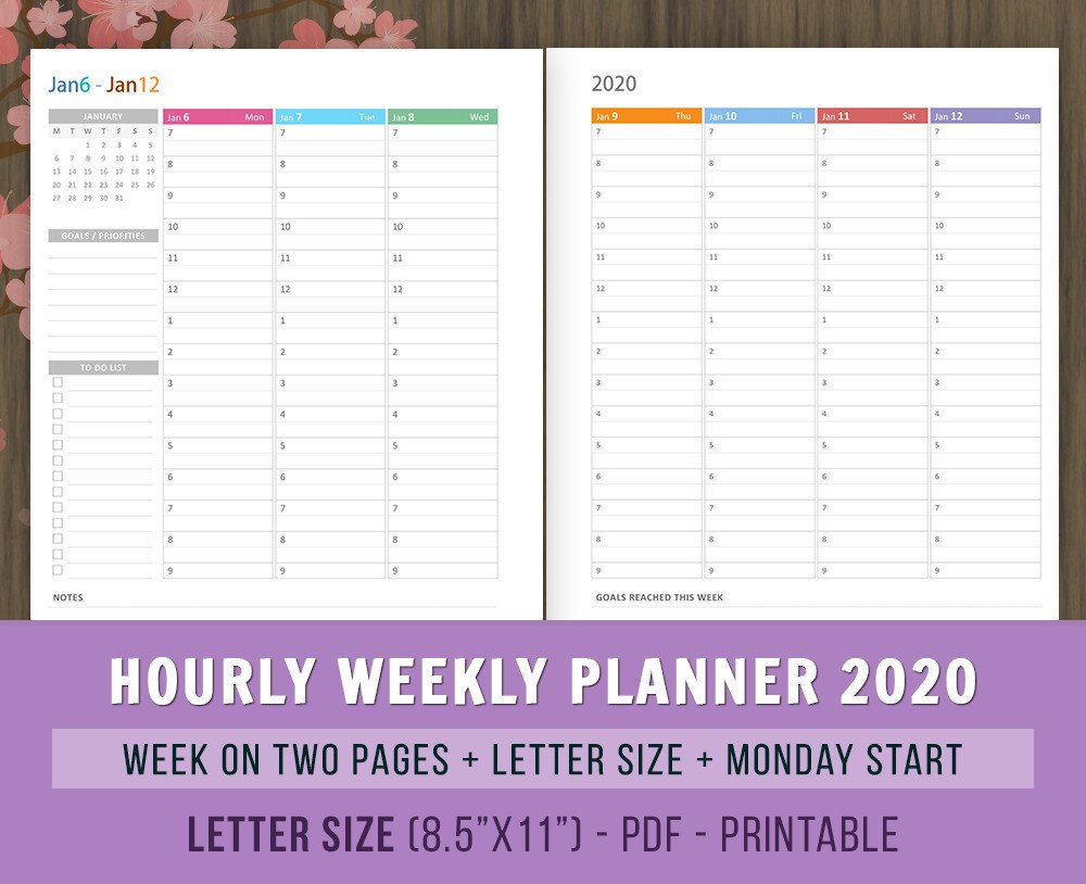 Hourly Weekly Planner 2020 Inserts, Printables, Weekly Agenda, Vertical  Layout, Printable Planner Pages, Letter Size, Week On 2 Pages, Wo2P