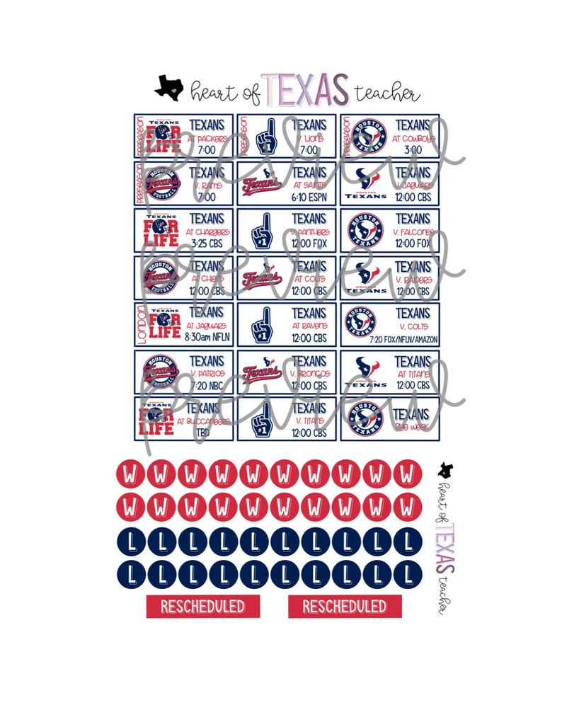 Houston Texans 2019-2020 Season Schedule Stickers For Erin Condren Life  Planner {Instant Download}