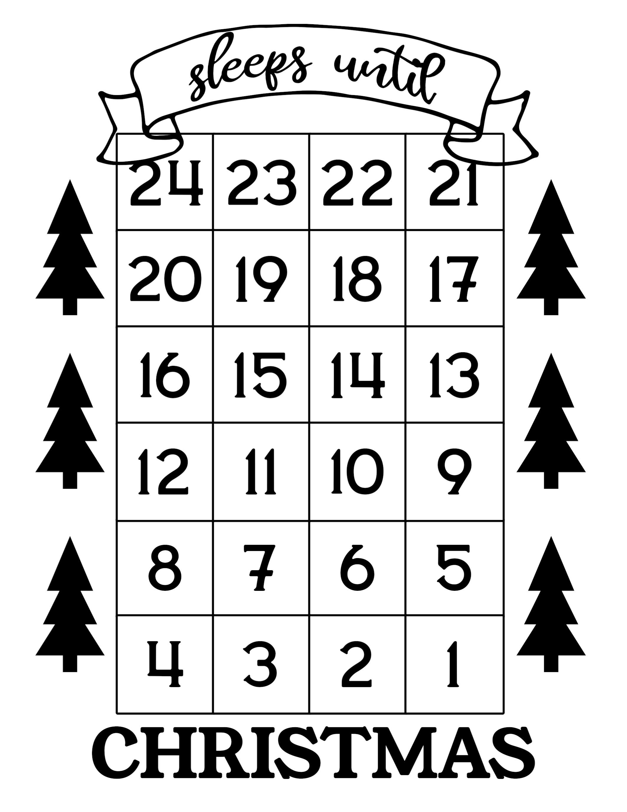 How Many Days Until Christmas Free Printable - Paper Trail