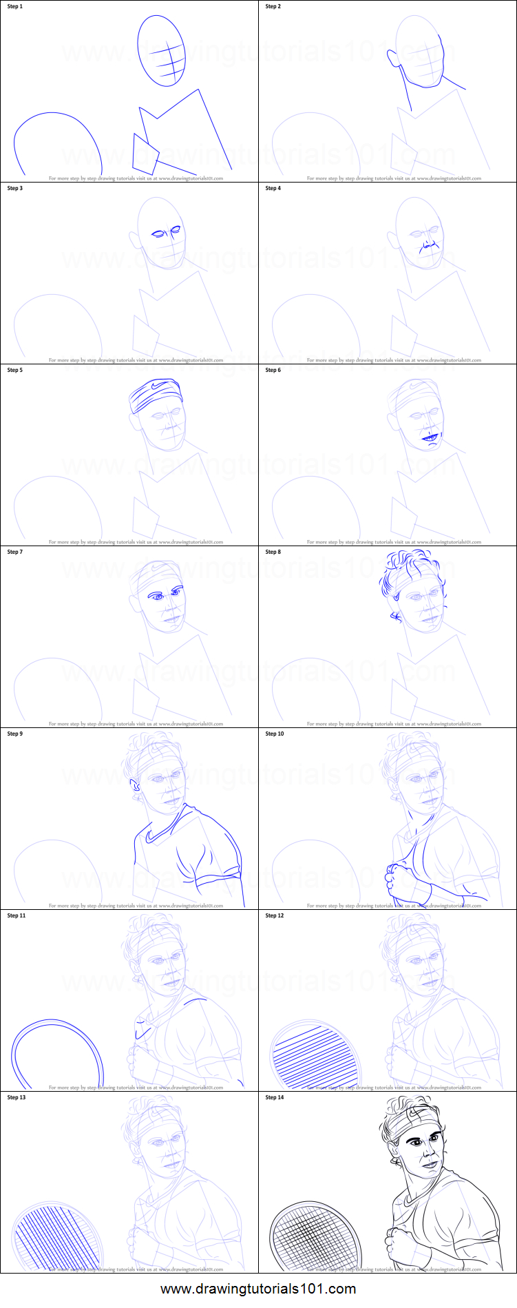 How To Draw Rafael Nadal Printable Stepstep Drawing