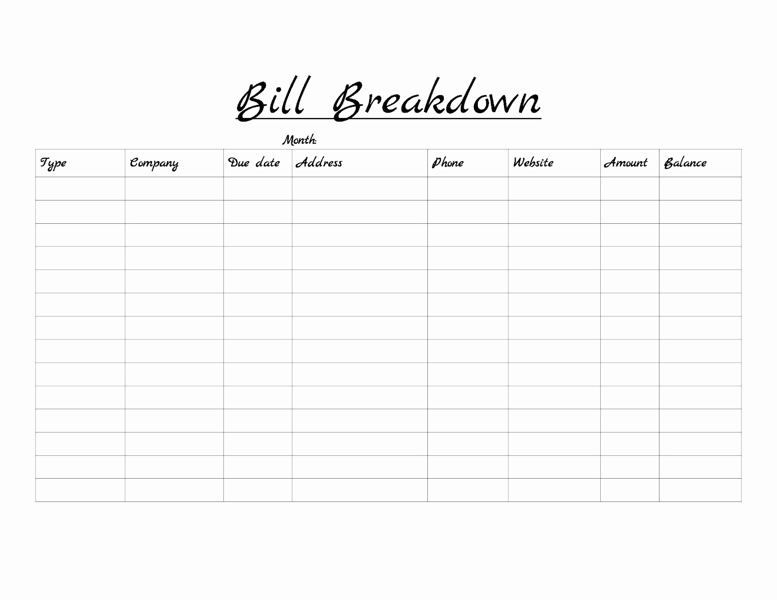 How To Make A Spreadsheet For Monthly Bills Of Printable