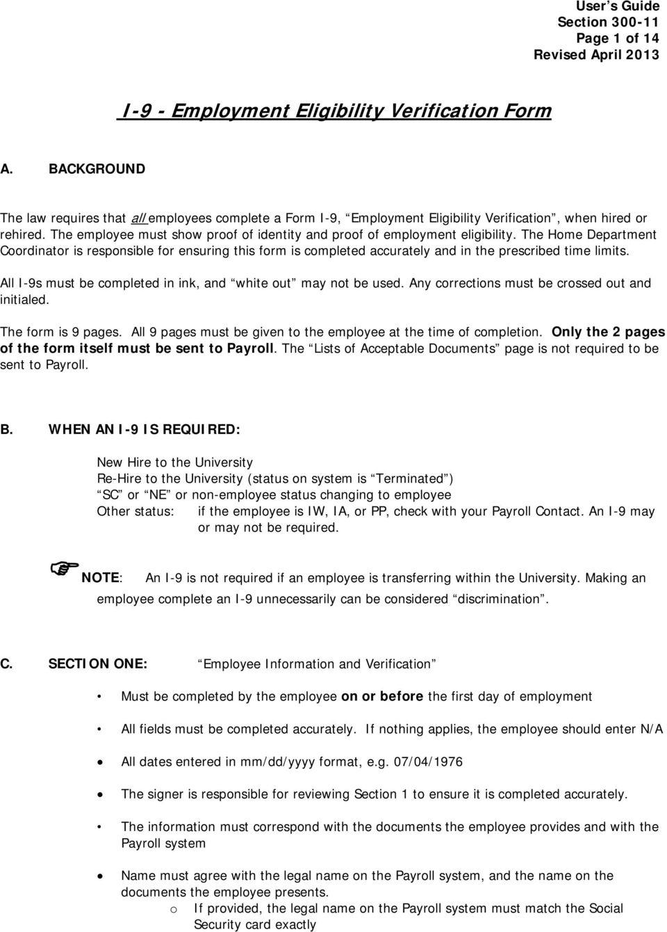 I-9 - Employment Eligibility Verification Form - Pdf