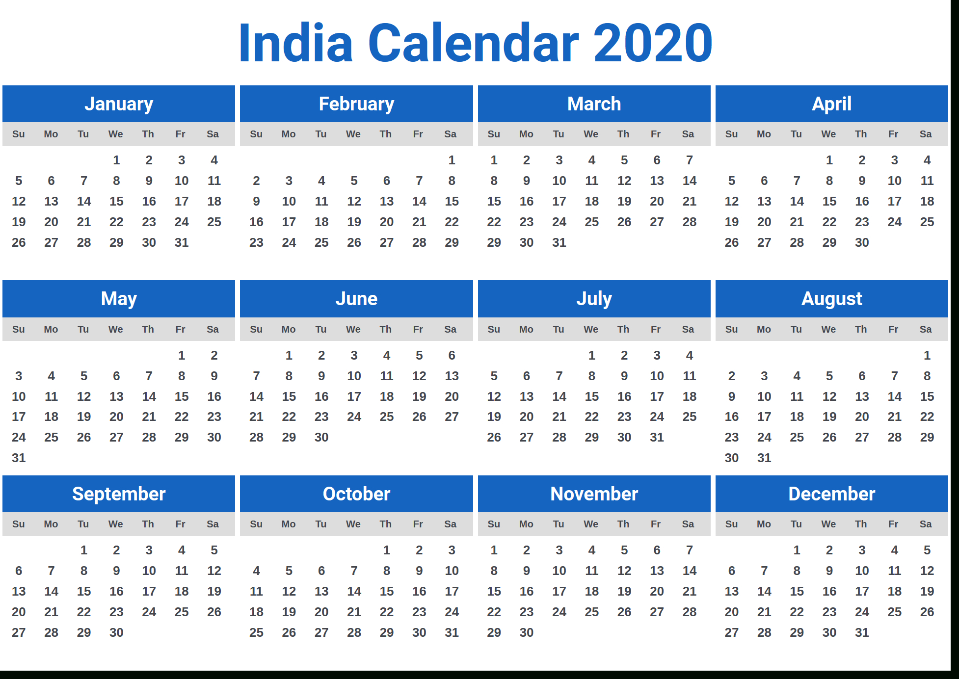 Image For India Calendar 2020 | Download In 2019 | Calendar