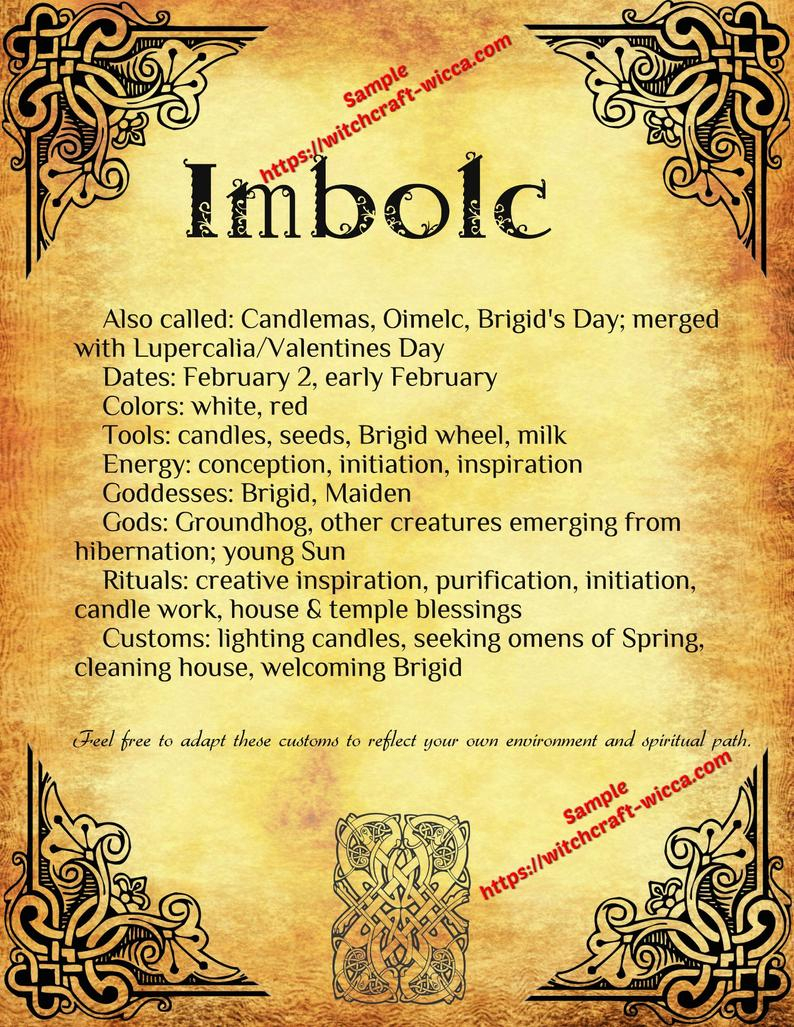 Imbolc Traditions 10 Pages Wiccans Rituals, Sabbats, Wheel Of The Year,  Book Of Shadows Printables