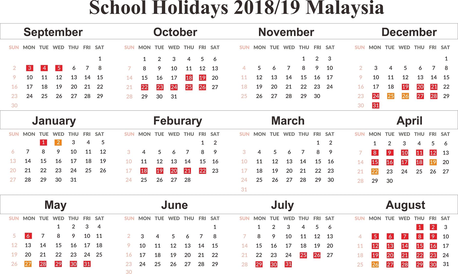 Impressive 2020 Calendar Malaysia School Holiday • Printable