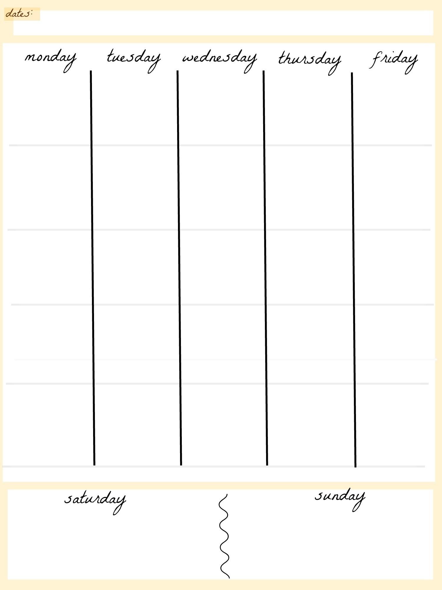 Impressive 5 Week Blank Calendar • Printable Blank Calendar