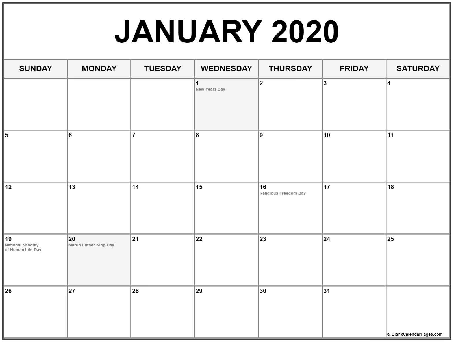 Impressive Calendar With Holidays 2020 • Printable Blank
