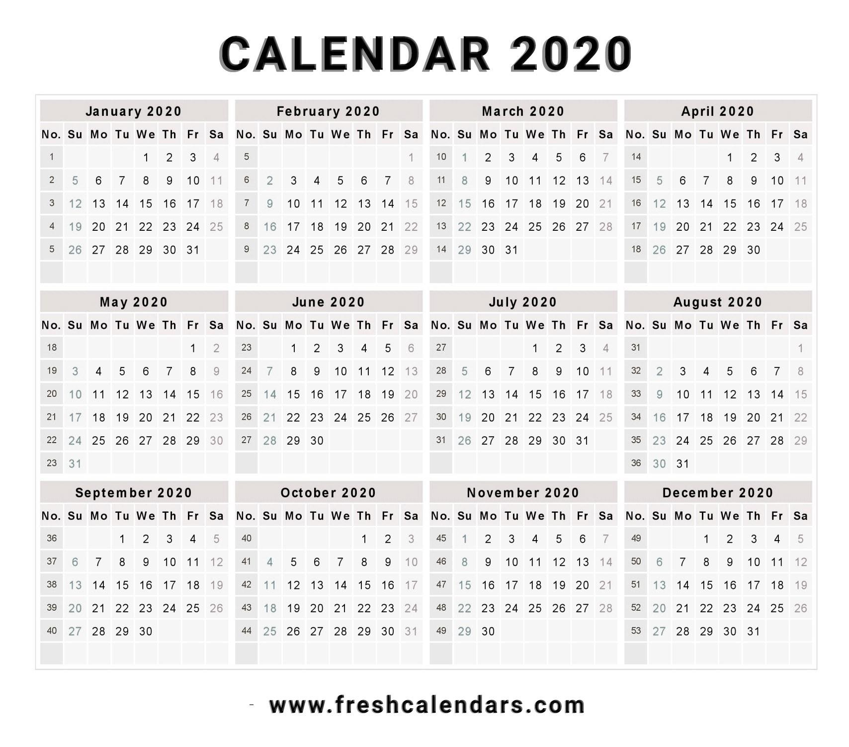 Incredible Free Calendar Template 2020 • Printable Blank
