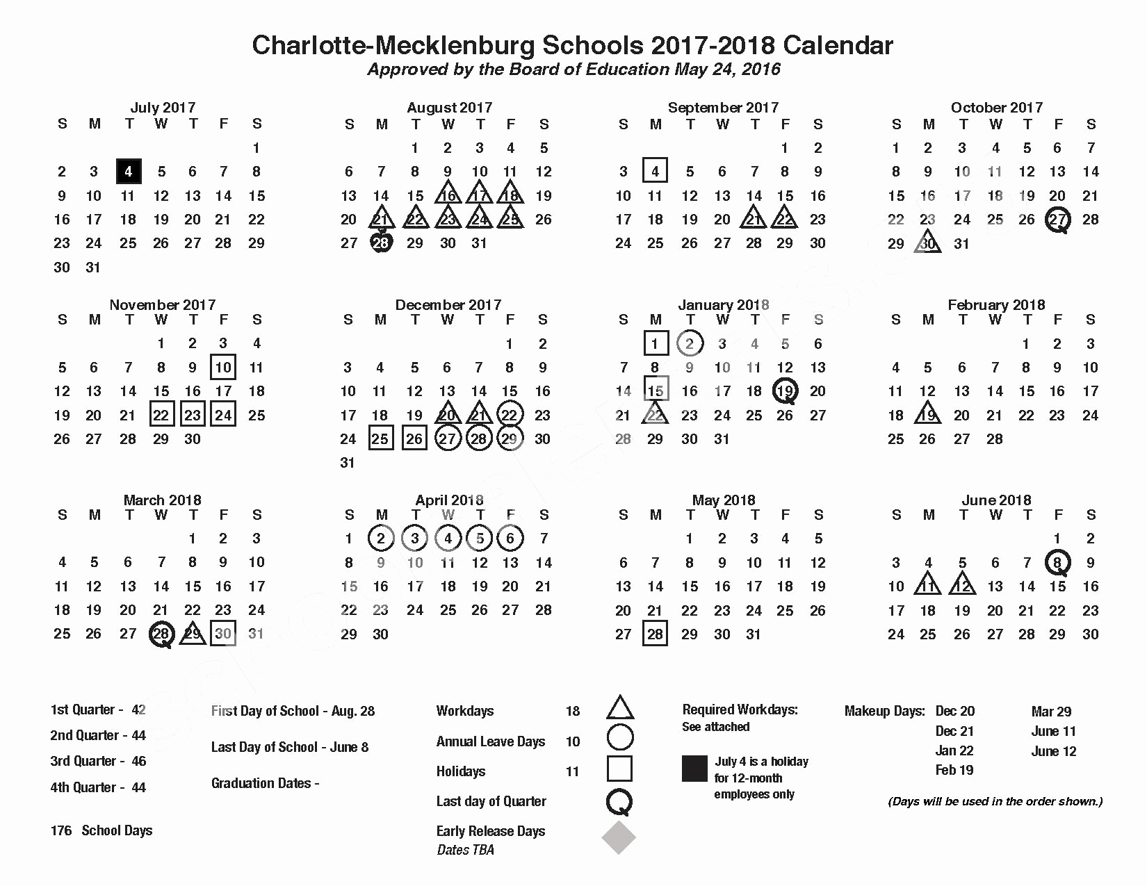 Incredible School Calendar Mecklenburg County • Printable