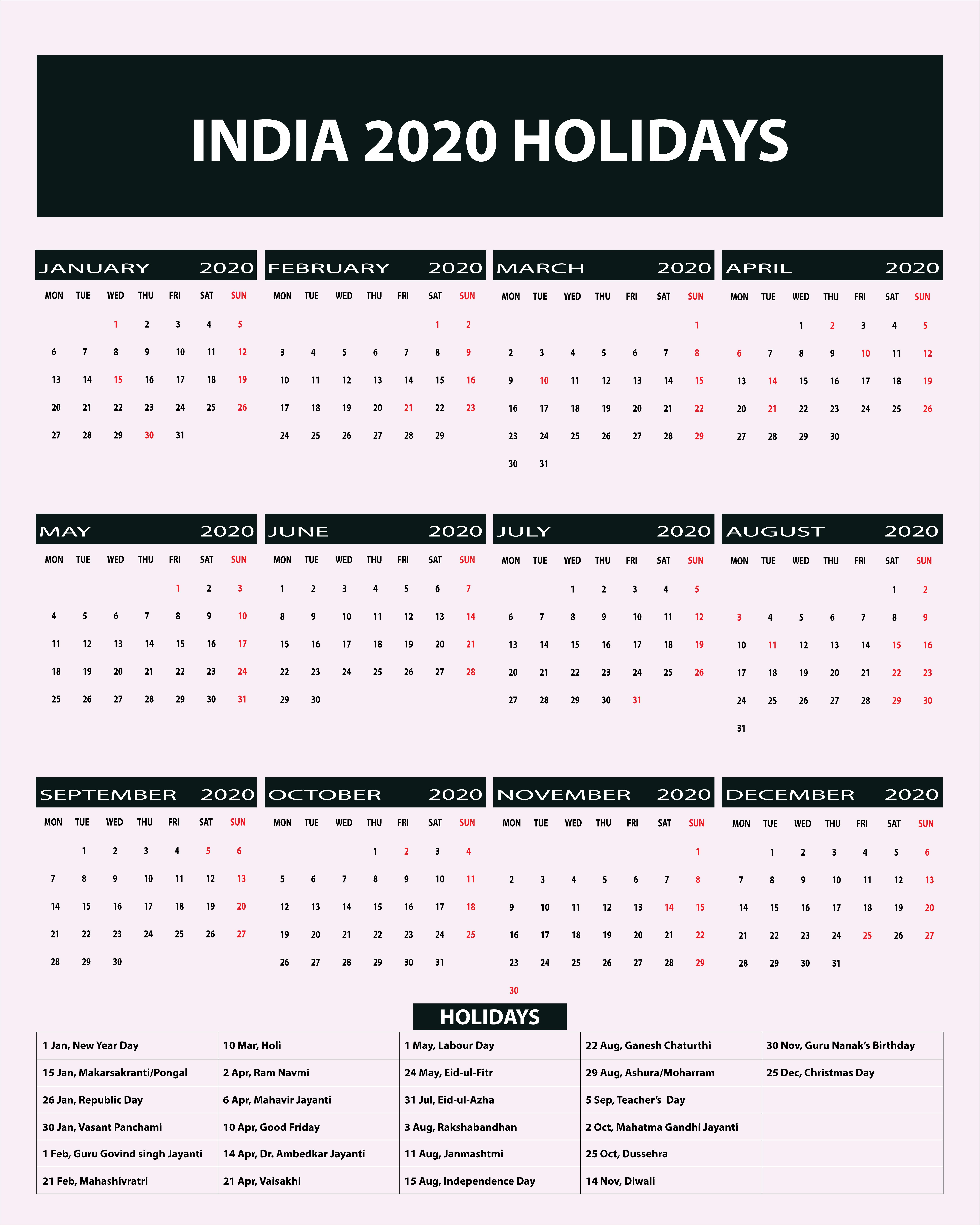 Indian Public Holidays 2020 Calendar | Indian Holidays 2020