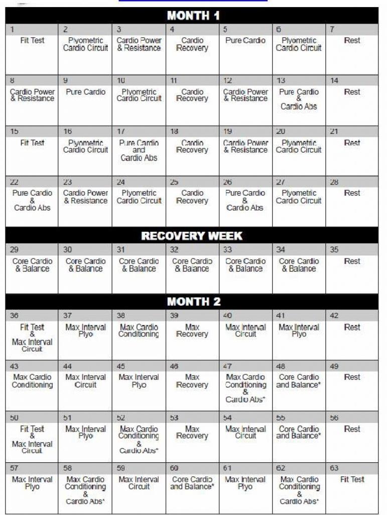 Insanity Calendar Month 1 • Printable Blank Calendar Template