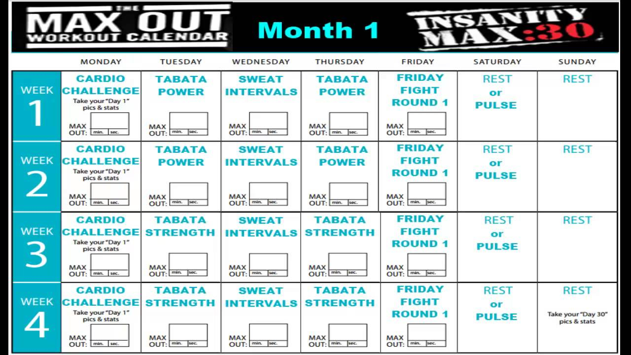 Insanity Max 30 Workout Calendar Month 1 | Sport1Stfuture