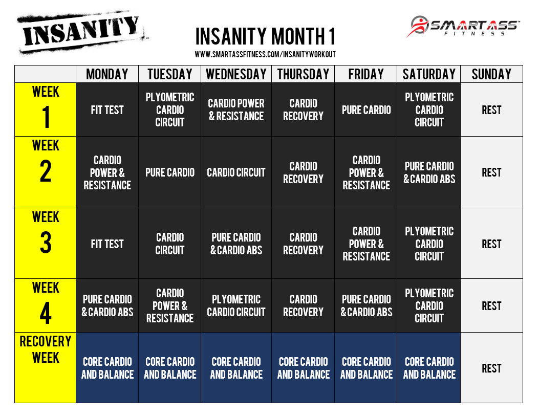 Insanity Workout Schedule | Me : For Exercise | Insanity