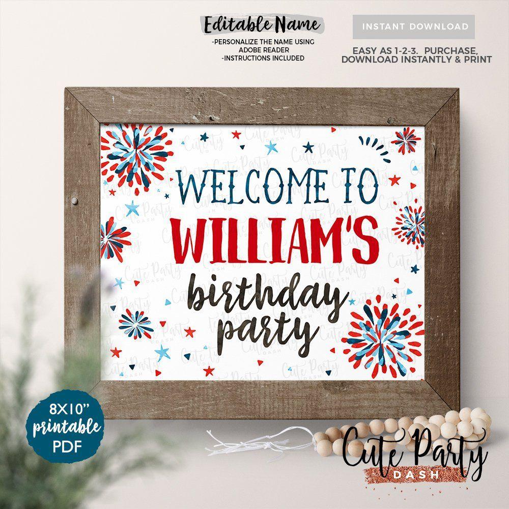 Instant Download - Editable 4Th Of July Welcome Sign Door