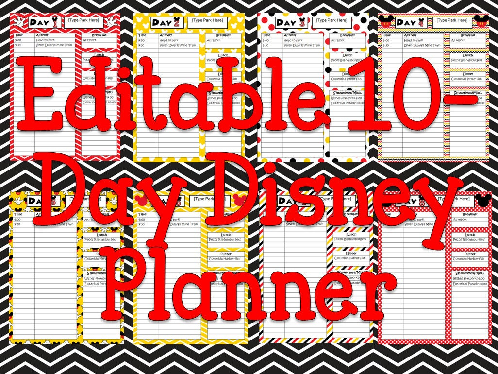 Instant Download Editable Disney Planner, Agenda, Itinerary