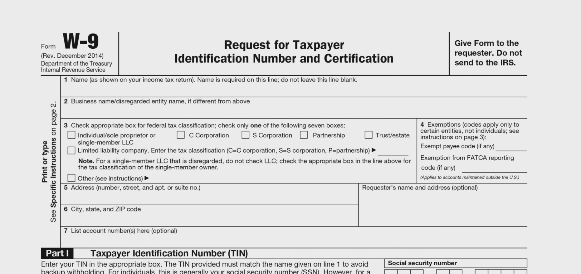 Irs Form W 9/tax Id Information Tax 9 Instructions Blank W11