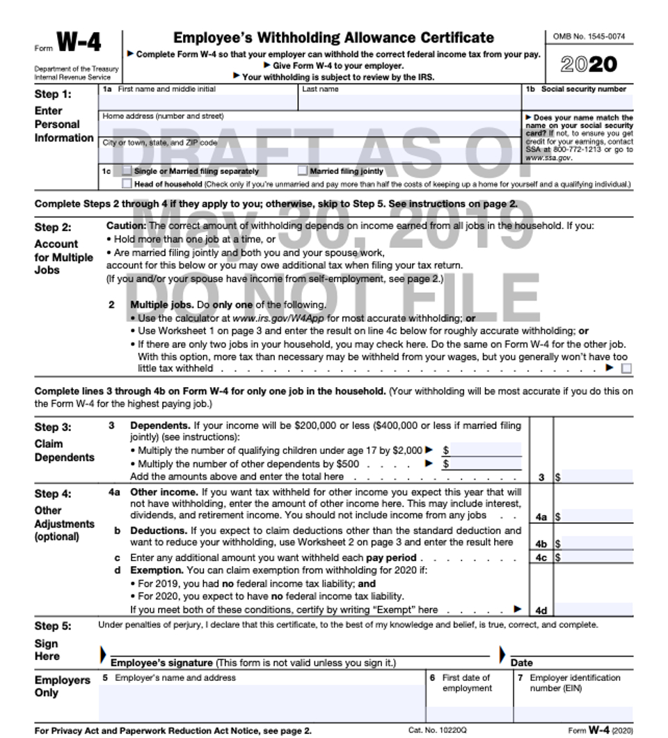 Irs Reworks W-4 To Help Taxpayers Withhold Correct Amounts