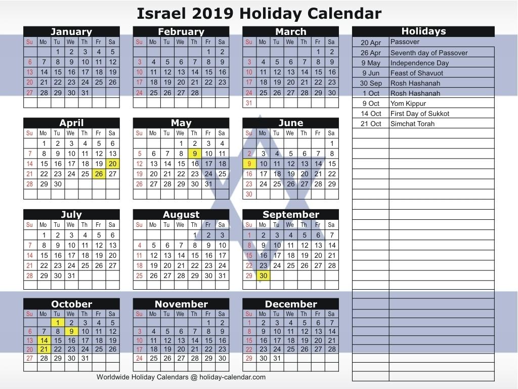 Israel 2019 / 2020 Holiday Calendar Within September