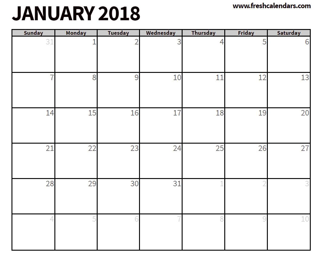January 2018 Calendar Printable - Fresh Calendars