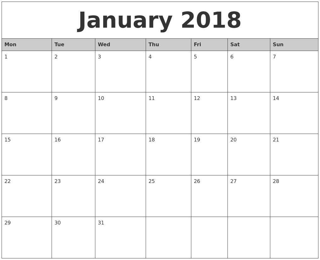 January-2018-Monthly-Calendar-Printable-Monday-Start - Eco