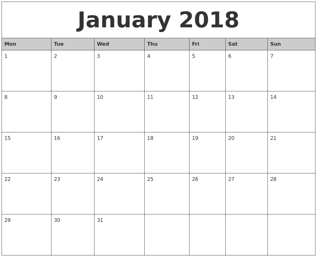 January-2018-Monthly-Calendar-Printable-Monday-Start - Eco