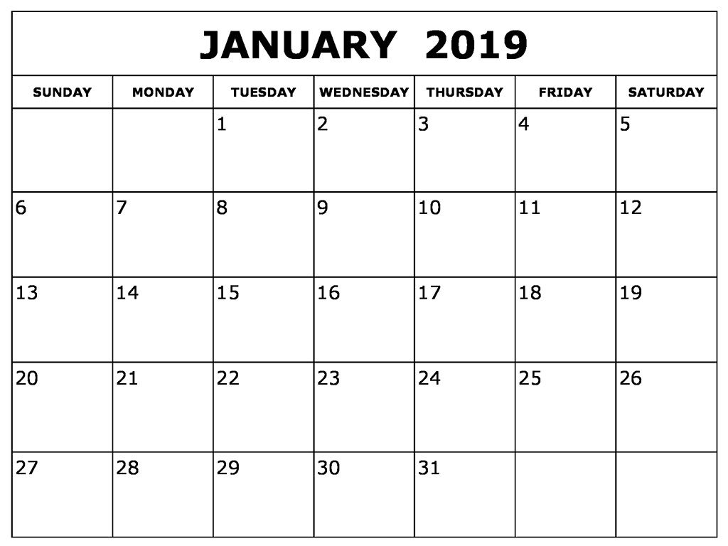 January 2019 Blank Calendar Template | 2019 Calendars