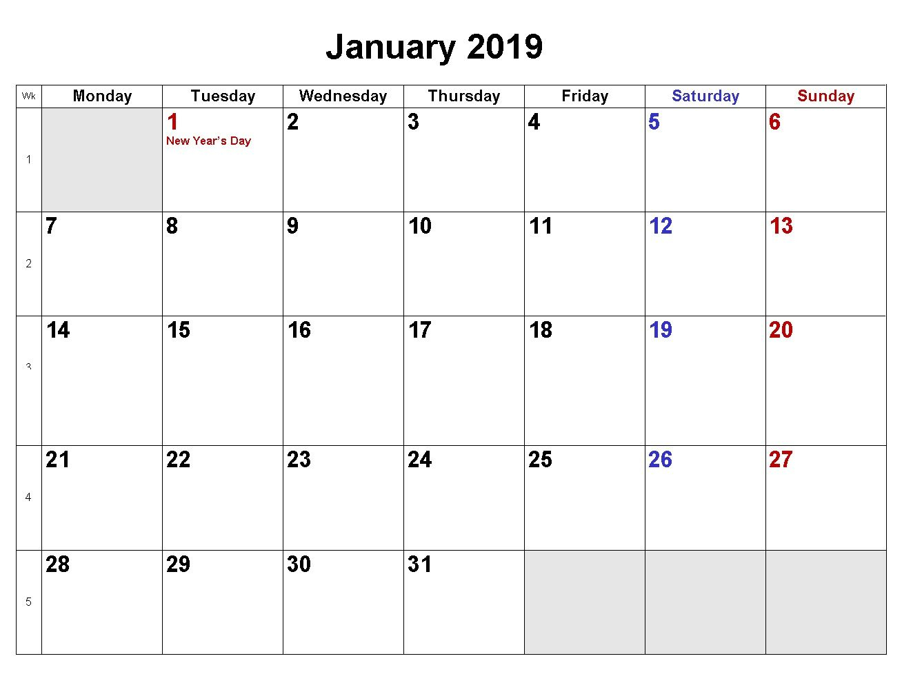 January 2019 Calendar Download In Word Excel Pdf Formats