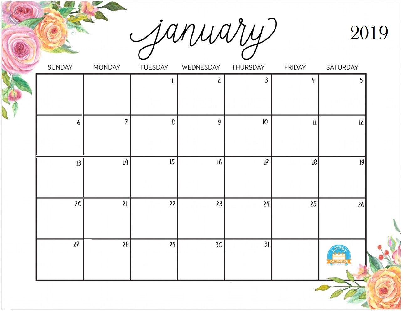 January 2019 Calendar – Free Download | Emma Kay's Baby