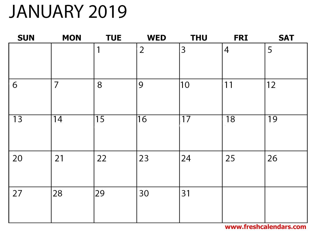 January 2019 Calendar Printable - Fresh Calendars